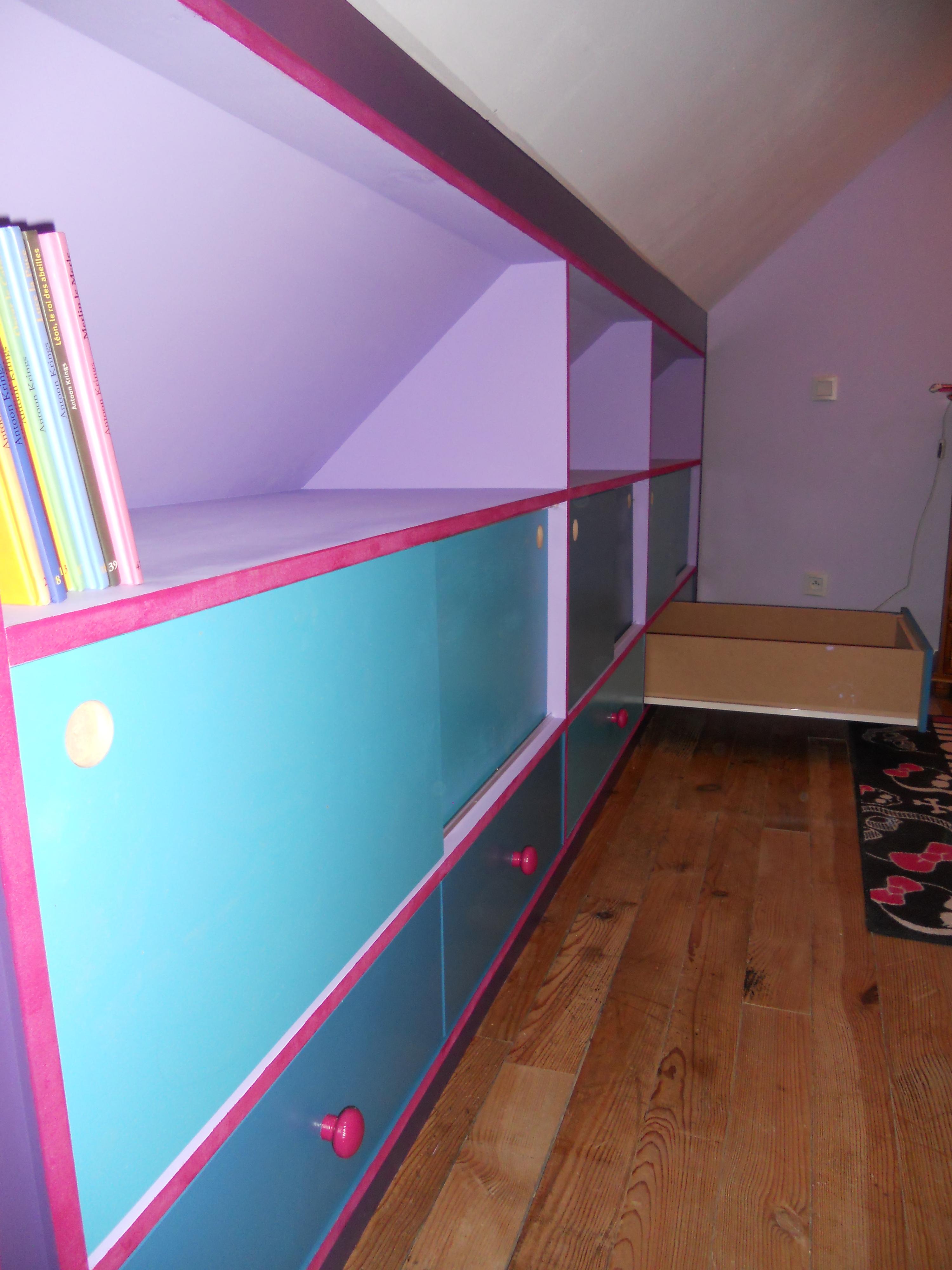 Meuble souspente pour un chambre de fille – brodie agencement