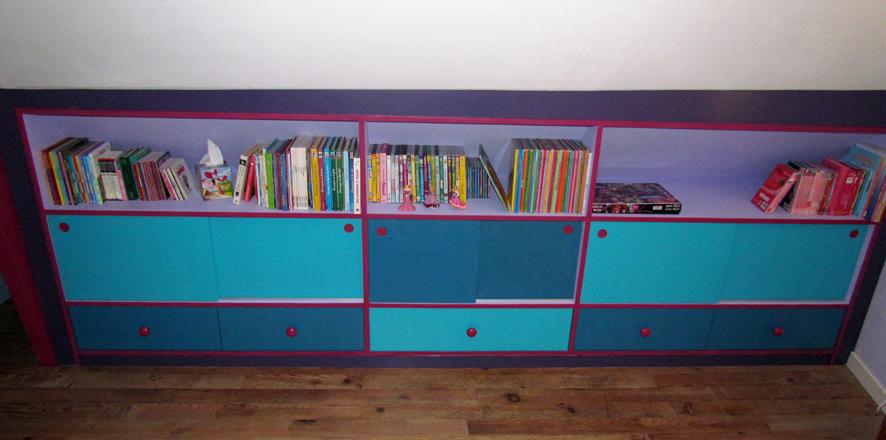 Meuble souspente pour un chambre de fille brodie agencement - Fabriquer meuble sous pente ...
